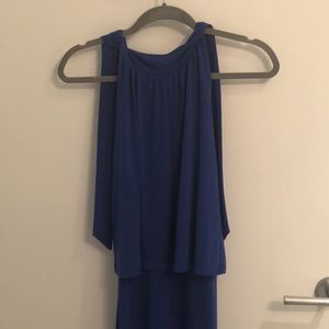 Long cobalt dress perfect for any style wedding!